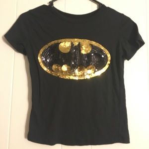 Sparkly Batman Cropped Tee Size XS